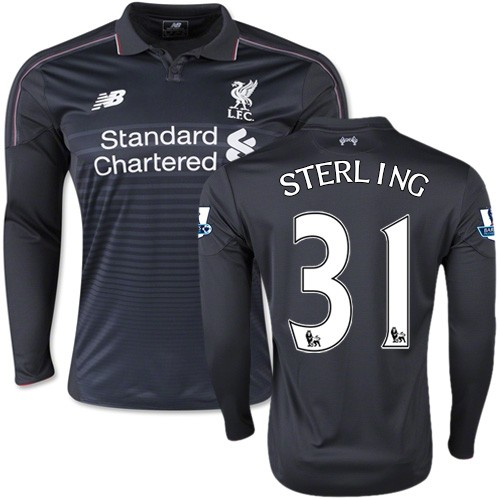 competitive price 3fbbb b87d6 Men's 31 Raheem Sterling Liverpool FC Jersey - 15/16 England Football Club  New Balance Authentic Black Third Soccer Long Sleeve Shirt