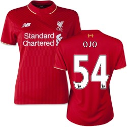 Women's 54 Sheyi Ojo Liverpool FC Jersey - 15/16 England Football Club New Balance Replica Red Home Soccer Short Shirt