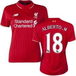 Women's 18 Alberto Moreno Liverpool FC Jersey - 15/16 England Football Club New Balance Authentic Red Home Soccer Short Shirt