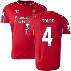 Men's 4 Kolo Toure Liverpool FC Jersey - 14/15 England Football Club Warrior Authentic Red Home Soccer Short Shirt