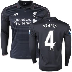 Men's 4 Kolo Toure Liverpool FC Jersey - 15/16 England Football Club New Balance Authentic Black Third Soccer Long Sleeve Shirt